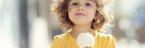 happy kid eating ice cream